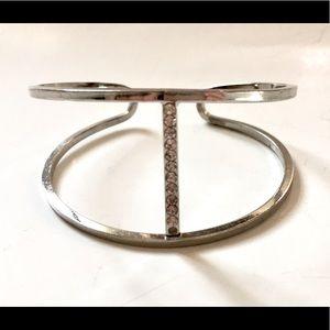 Silver Rhinestone Cuff Bracelet